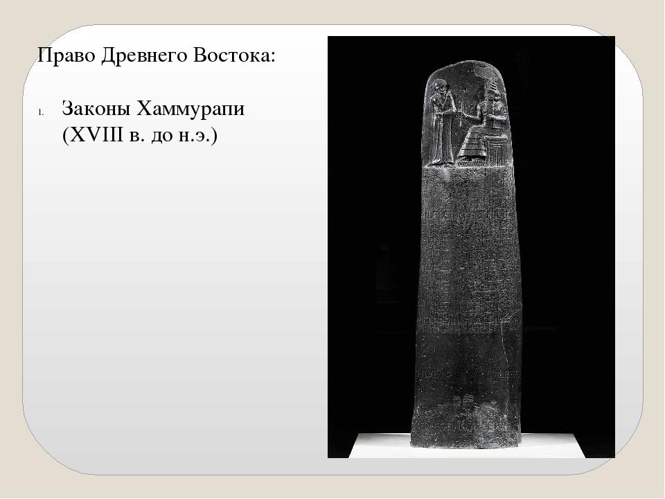 Право Древнего Востока: Законы Хаммурапи (XVIII в. до н.э.)