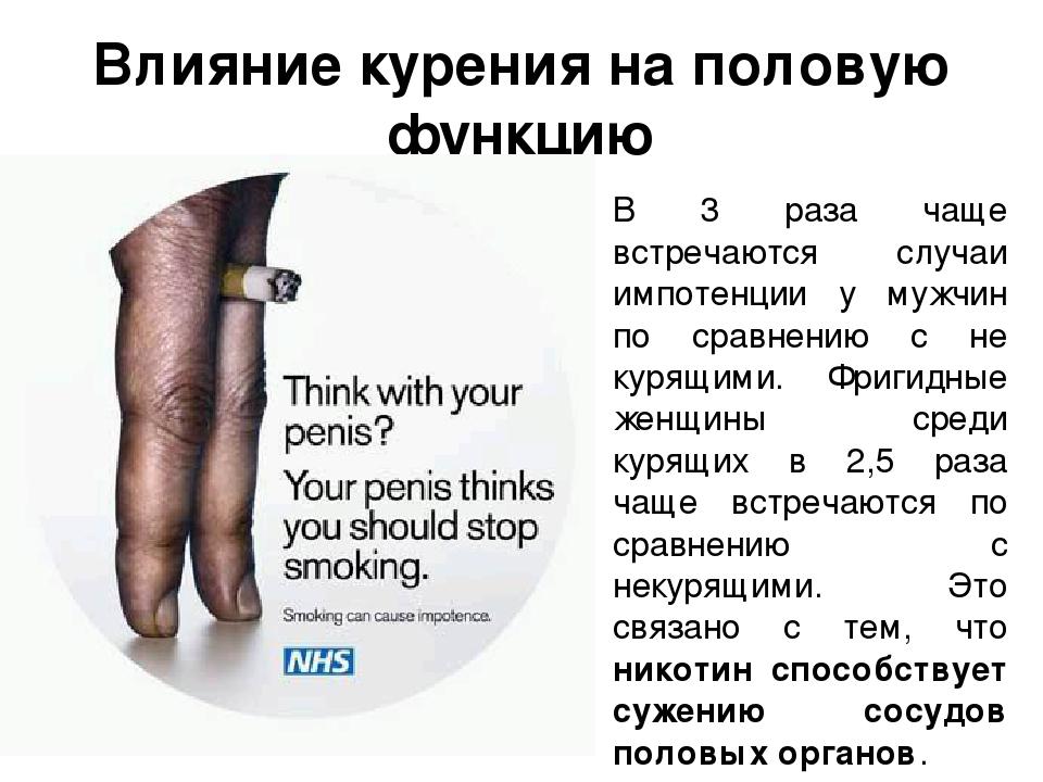 Как никотин влияет на потенцию