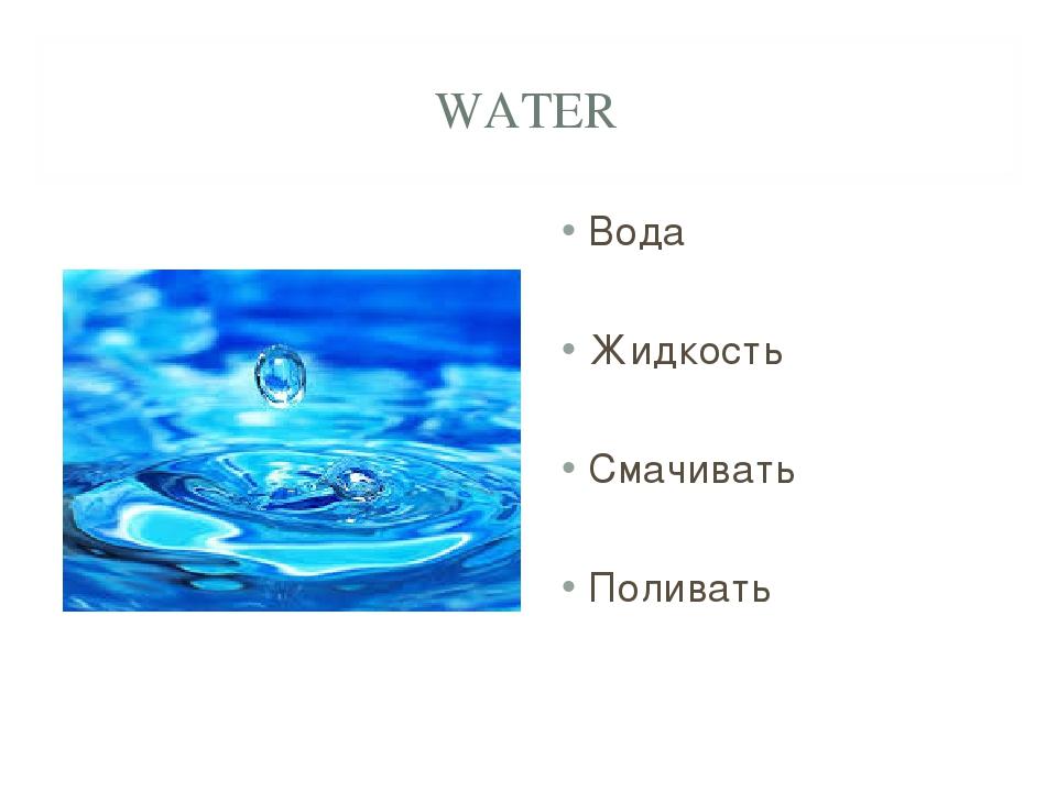 WATER Вода Жидкость Смачивать Поливать
