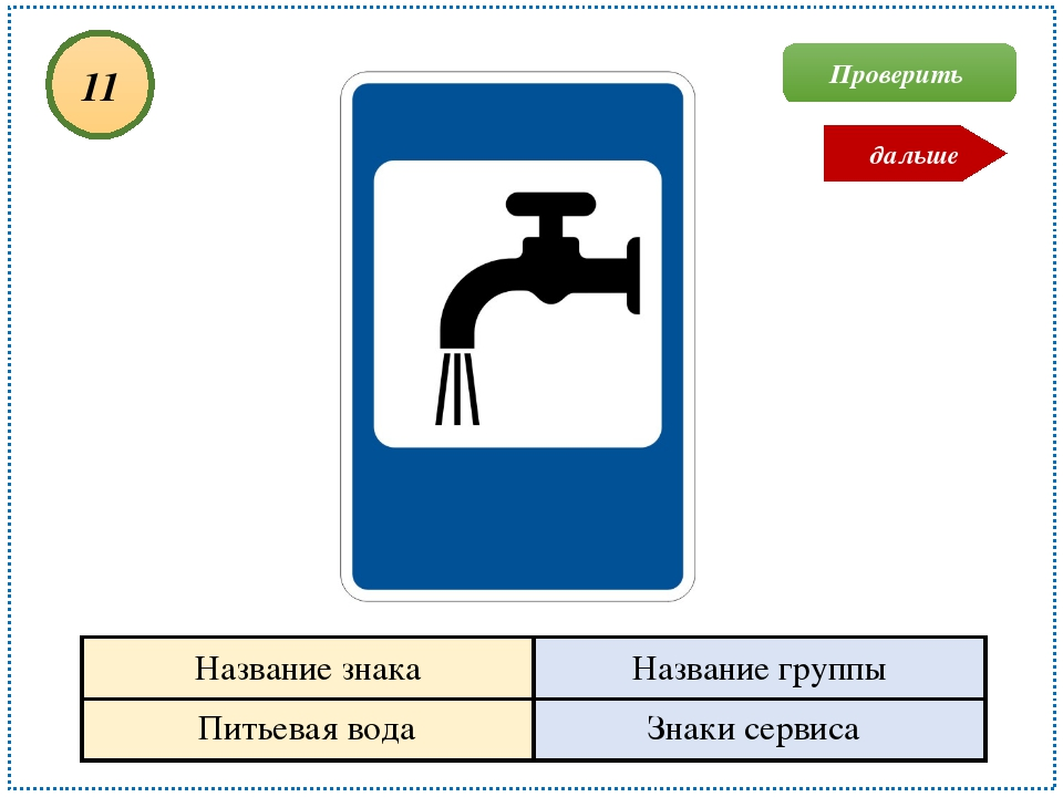 Питьевая вода Знаки сервиса 11 Проверить дальше Название знака Название группы