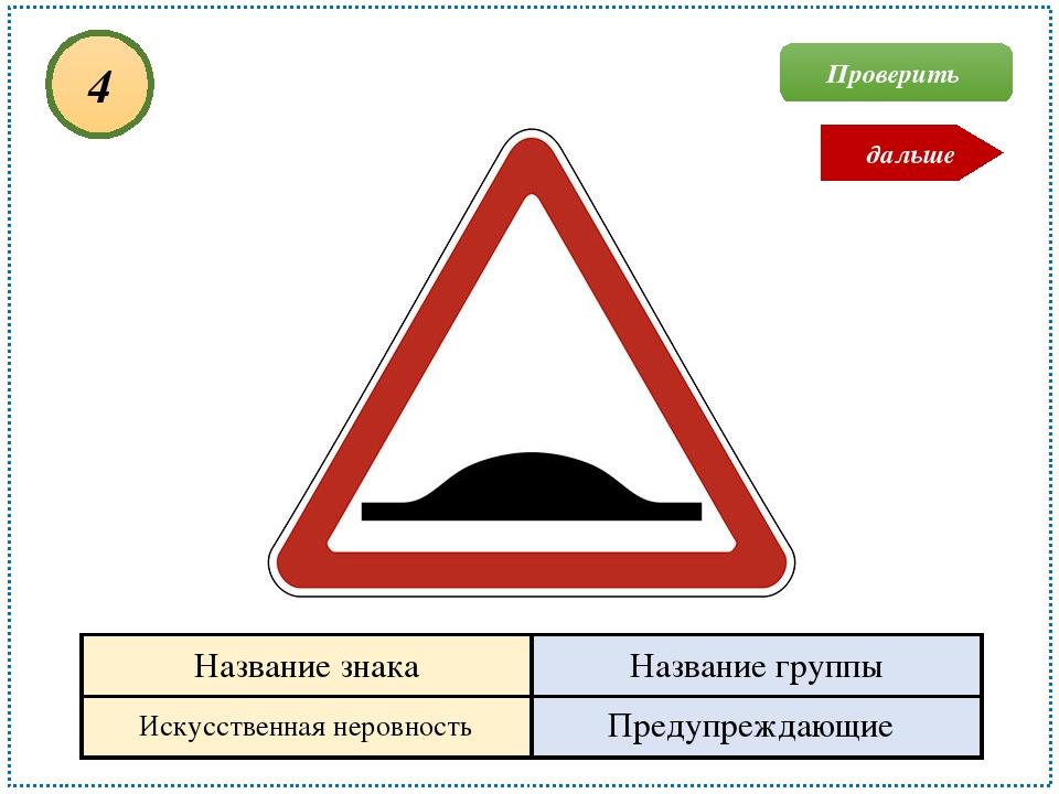 Искусственная неровность Предупреждающие 4 Проверить дальше Название знака На...