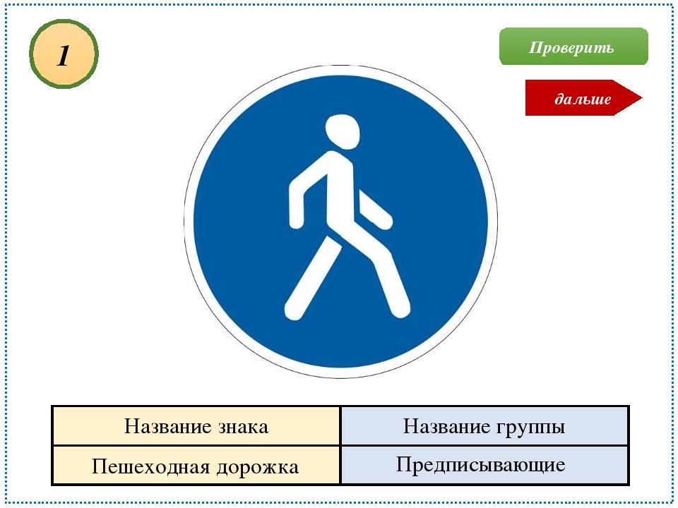 Пешеходная дорожка Предписывающие 1 Проверить дальше Название знака Название...
