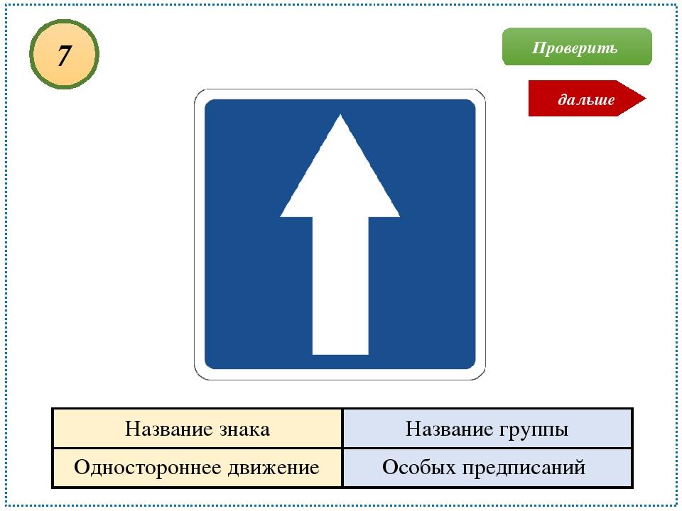 Одностороннее движение Особых предписаний 7 Проверить дальше Название знака Н...