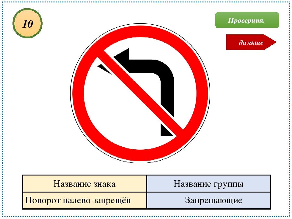 Поворот налево запрещён Запрещающие 10 Проверить дальше Название знака Назван...
