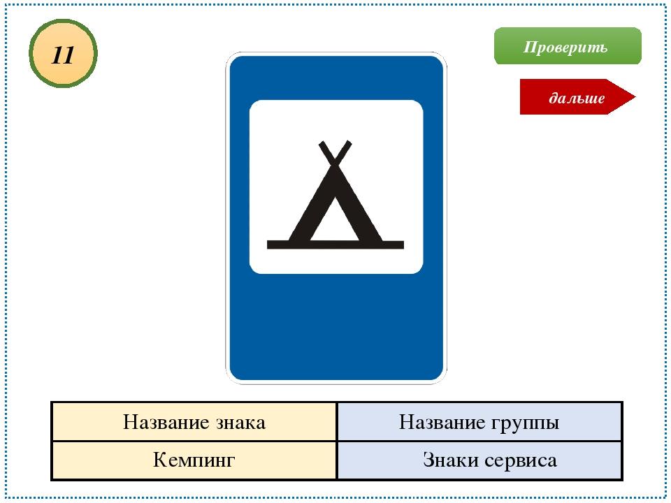 Кемпинг Знаки сервиса 11 Проверить дальше Название знака Название группы