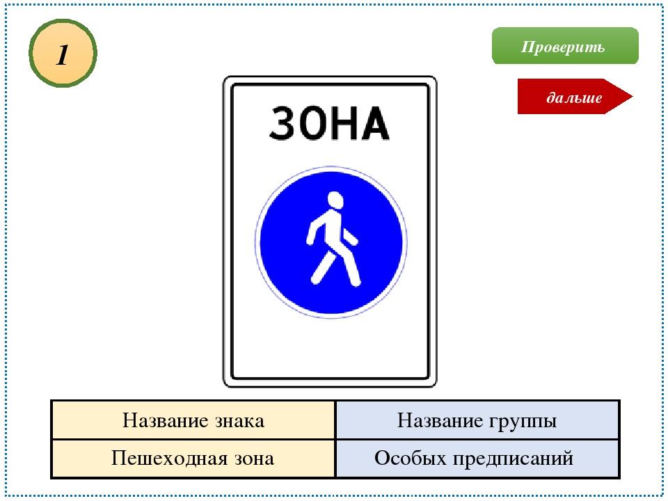 Пешеходная зона Особых предписаний 1 Проверить дальше Название знака Название...