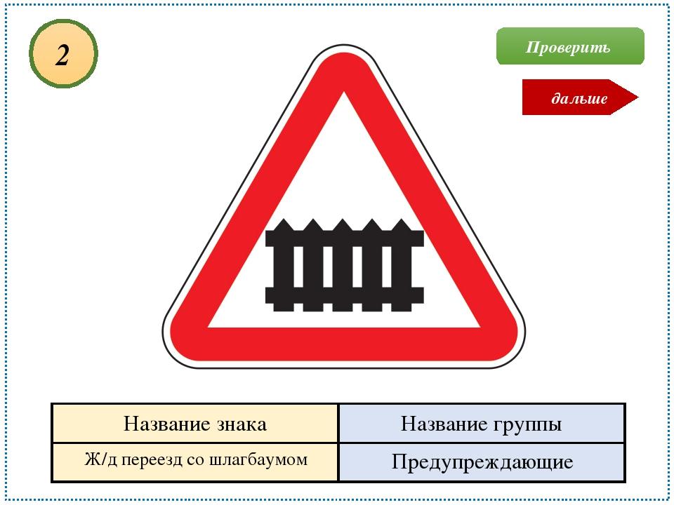Ж/д переезд со шлагбаумом Предупреждающие 2 Проверить дальше Название знака Н...