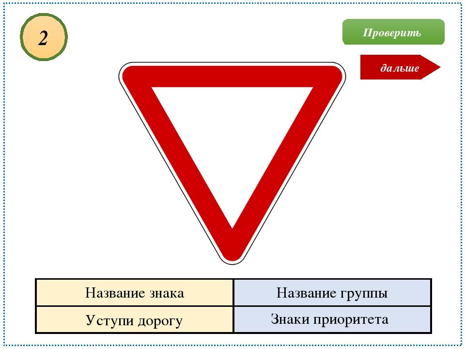 Уступи дорогу Знаки приоритета 2 Проверить дальше Название знака Название гру...