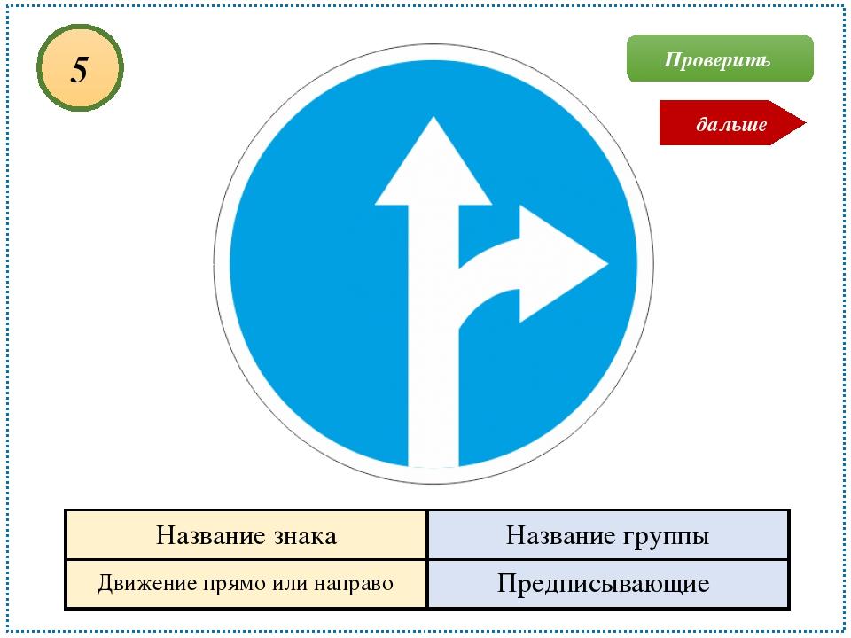 Движение прямо или направо Предписывающие 5 Проверить дальше Название знака Н...