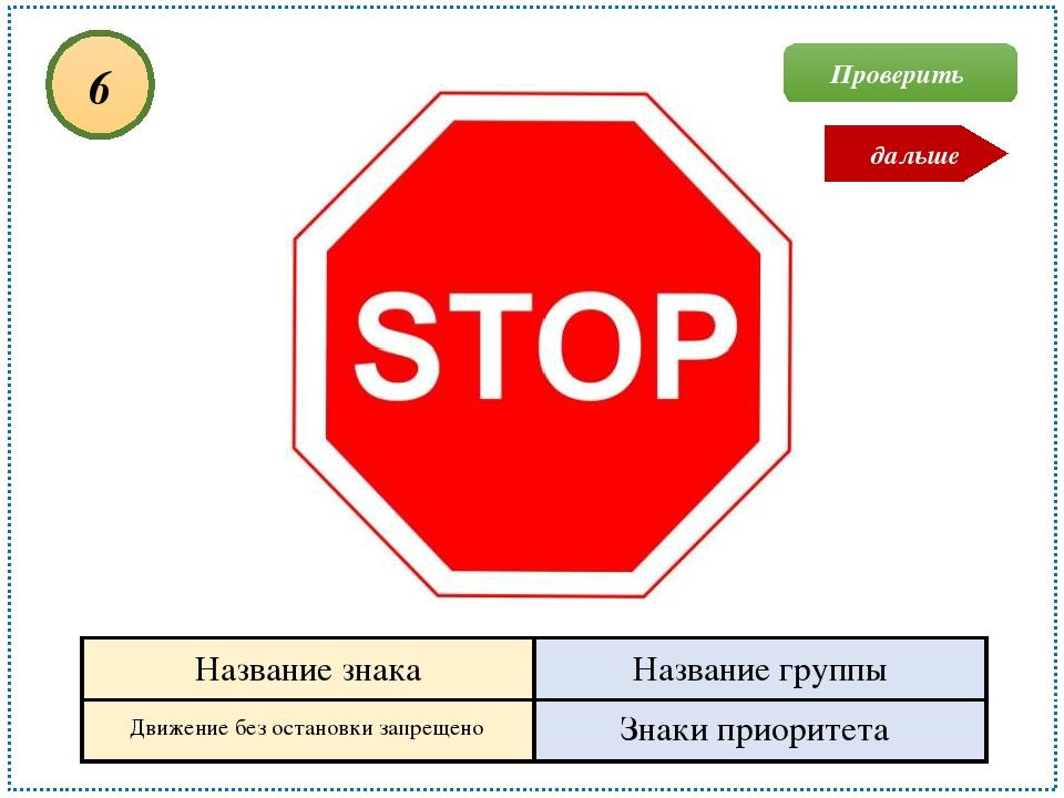 Движение без остановки запрещено Знаки приоритета 6 Проверить дальше Название...
