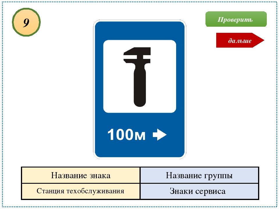 Станция техобслуживания Знаки сервиса 9 Проверить дальше Название знака Назва...