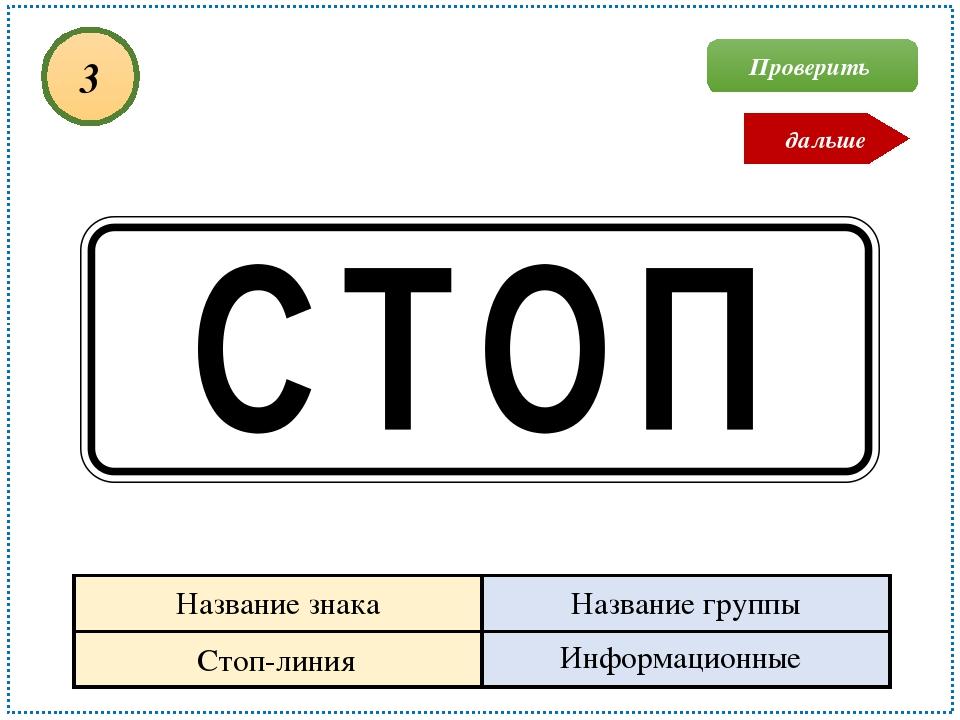 Стоп-линия Информационные 3 Проверить дальше Название знака Название группы