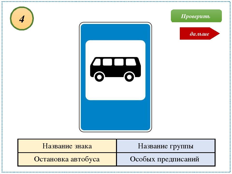Остановка автобуса Особых предписаний 4 Проверить дальше Название знака Назва...