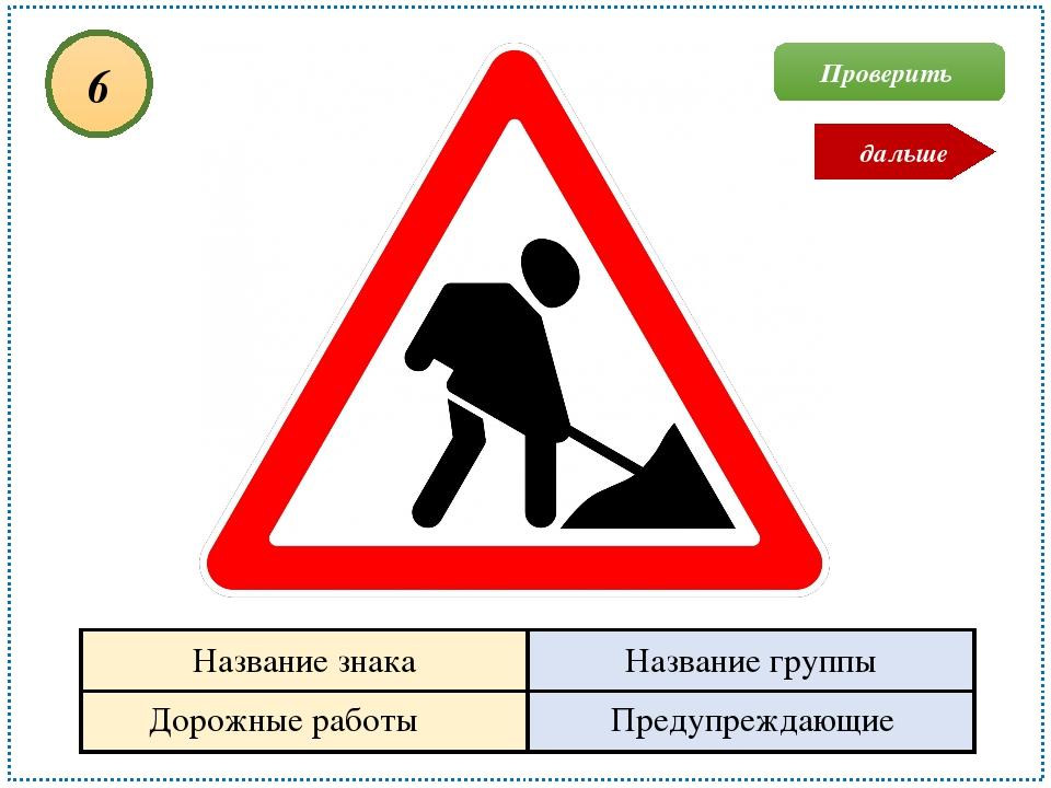 Проверить Дорожные работы Предупреждающие 6 дальше Название знака Название гр...