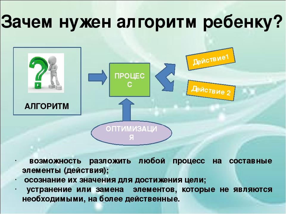 возможность разложить любой процесс на составные элементы (действия); осозна...
