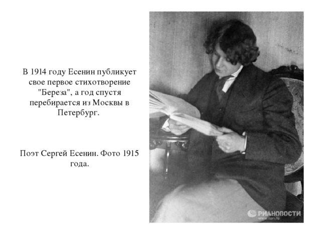 Урок в классе по творчеству Сергея Есенина В 1914 году Есенин публикует свое первое стихотворение Береза а год спустя