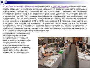 «Кадровая политика предприятия» реализуется в третьем разделе анкеты-опросник