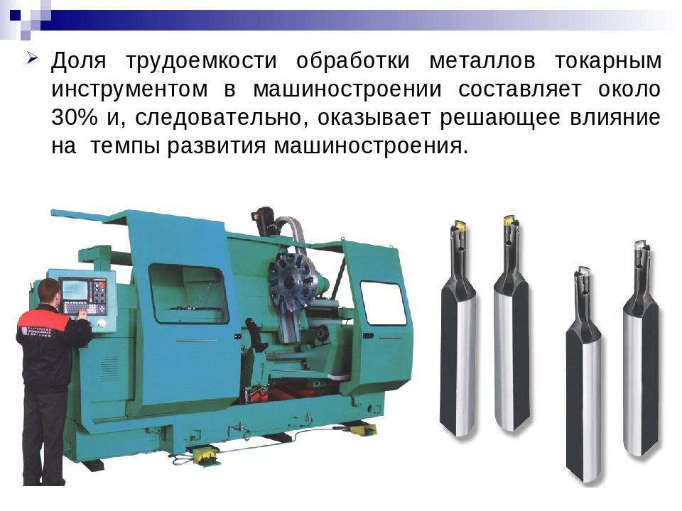 Доля трудоемкости обработки металлов токарным инструментом в машиностроении с...