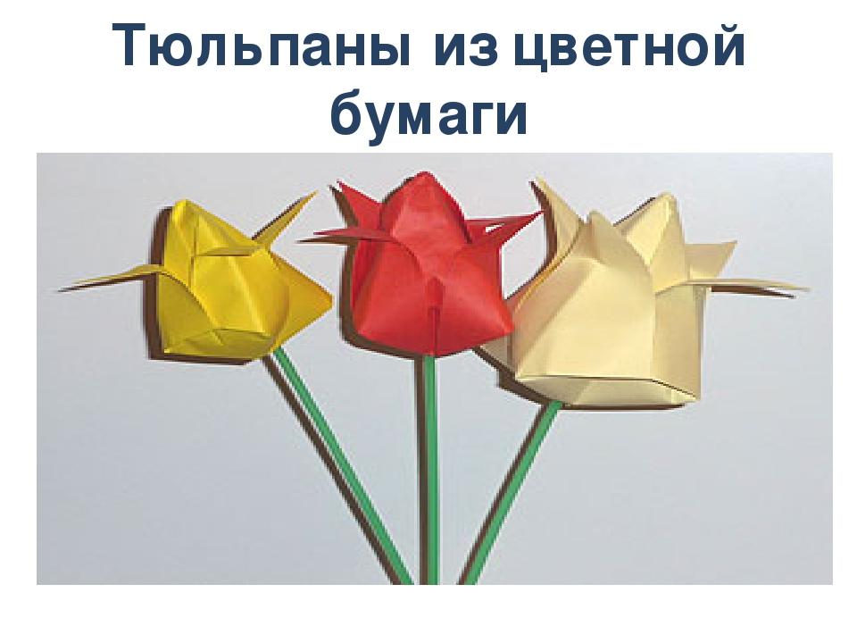 Как сделать тюльпаны из бумаги цветной