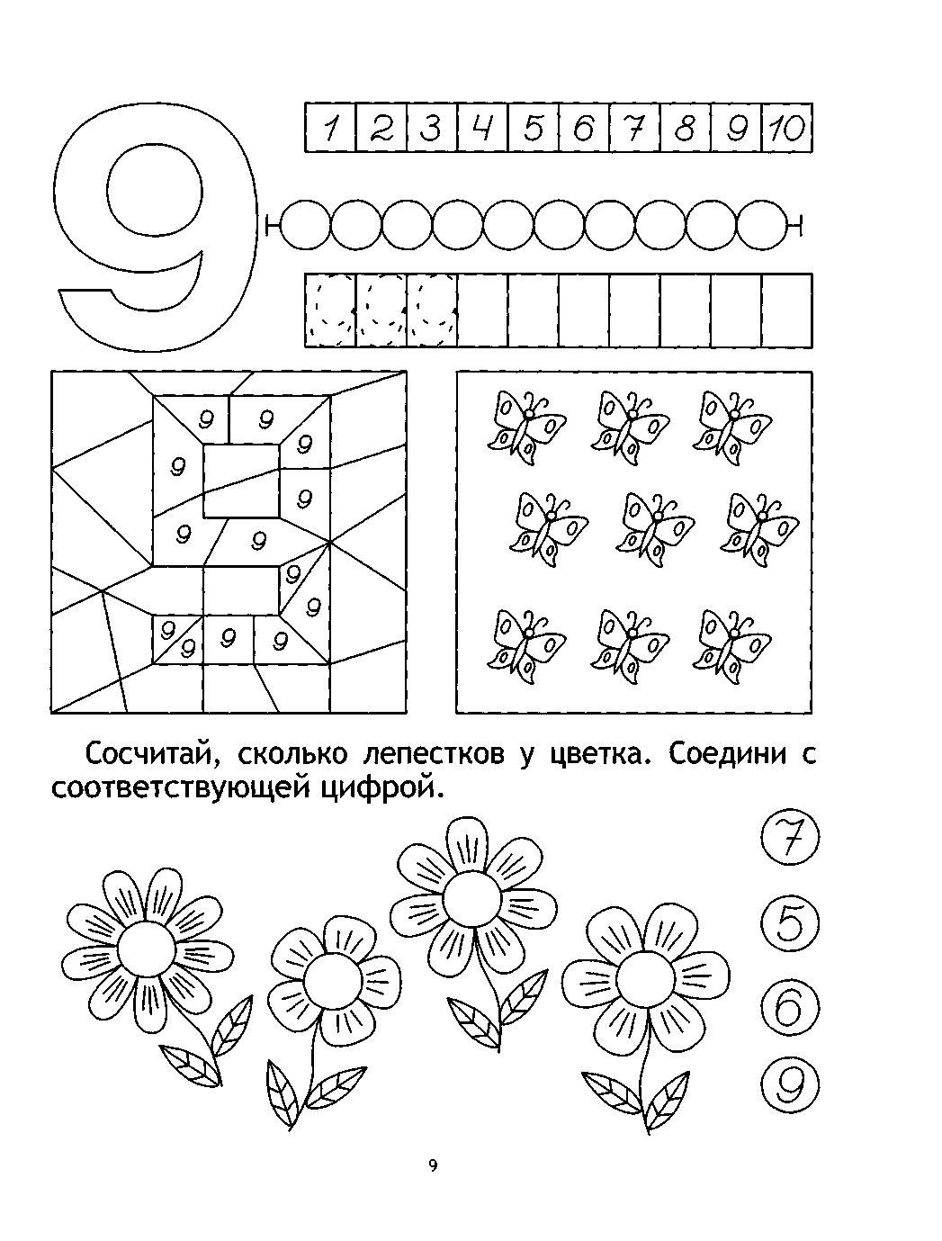 Математика знакомство с цифрой9