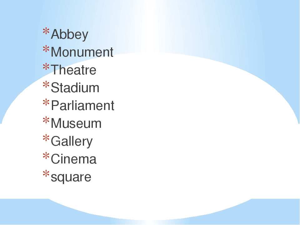 Abbey Monument Theatre Stadium Parliament Museum Gallery Cinema square