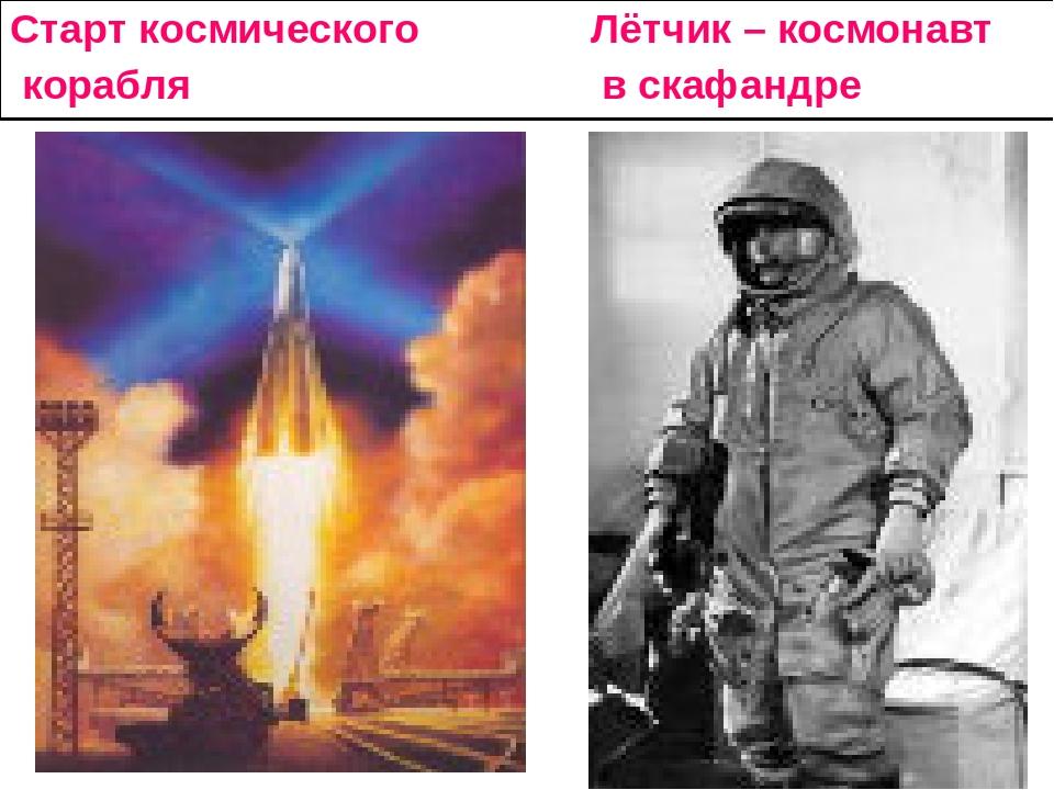 Старт космического Лётчик – космонавт корабля в скафандре