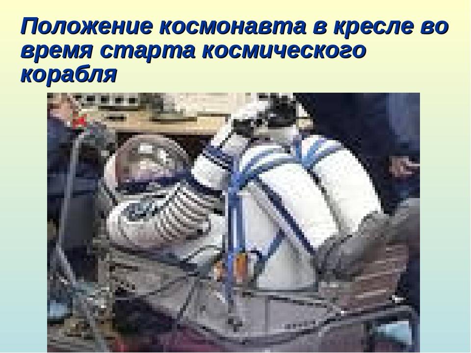 Положение космонавта в кресле во время старта космического корабля
