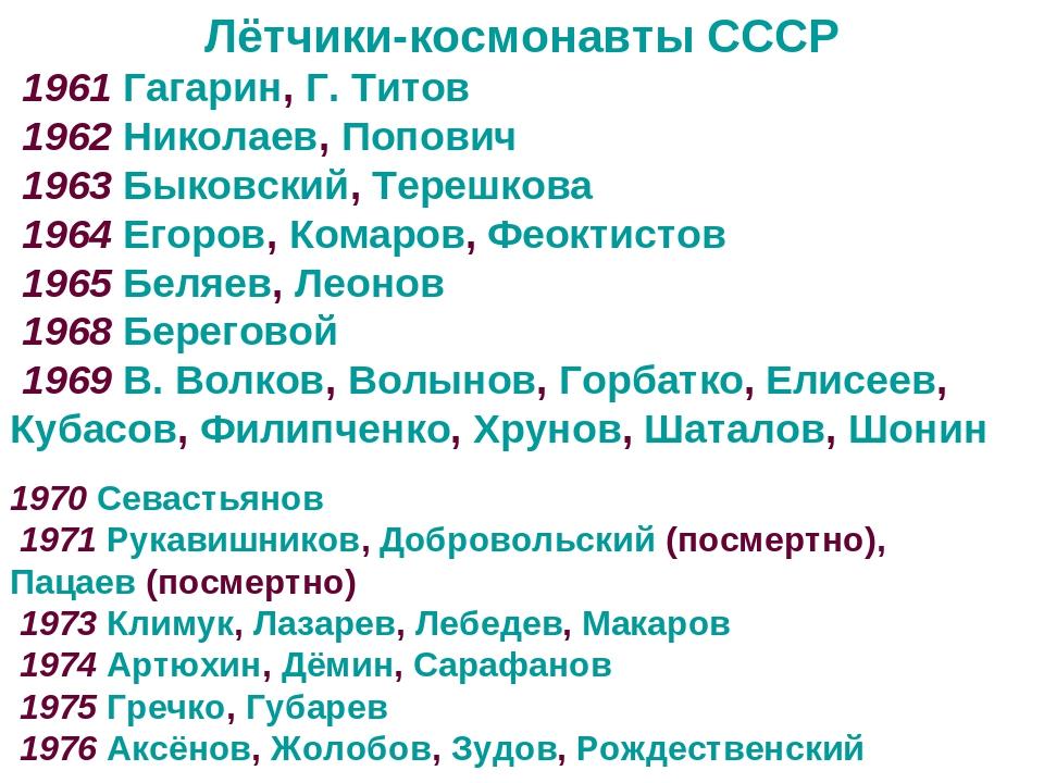 Лётчики-космонавты СССР 1961 Гагарин, Г. Титов 1962 Николаев, Попович 1963 Бы...