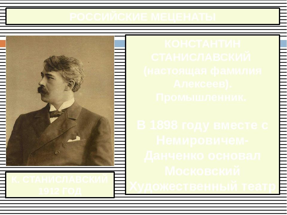 К. СТАНИСЛАВСКИЙ 1912 ГОД РОССИЙСКИЕ МЕЦЕНАТЫ КОНСТАНТИН СТАНИСЛАВСКИЙ (насто...