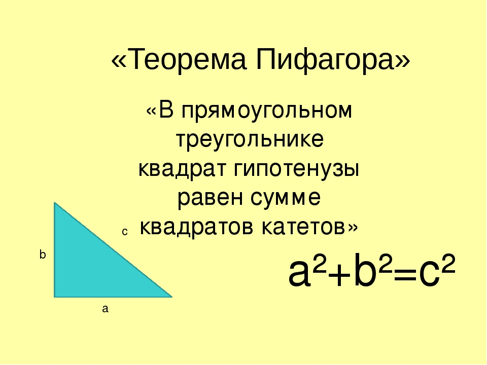 pythagoras theorem The pythagorean theorem or pythagoras' theorem is a formula relating the lengths of the three sides of a right triangle if we take the length of the hypotenuse to be c and the length of the legs to be a and b then this theorem tells us that.