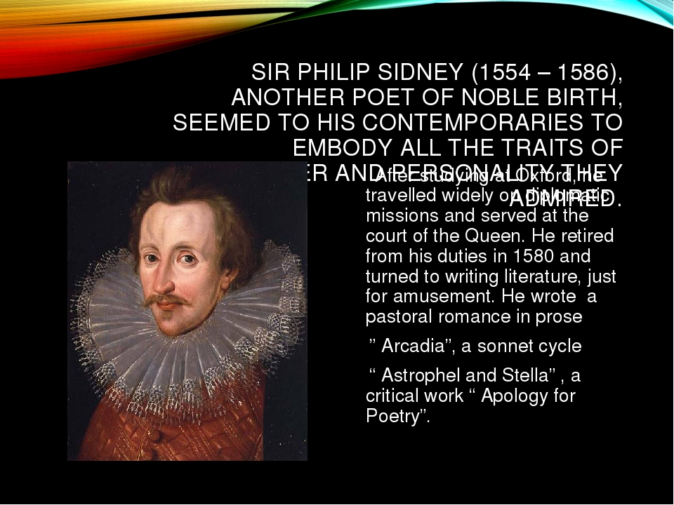 "research paper on sir philip sidney Comparative poetic analysis of sir philip sidney's ""astrophil and stella: sonnet 72"" and william shakespeare's ""sonnet 127"" a 5 page paper which examines."