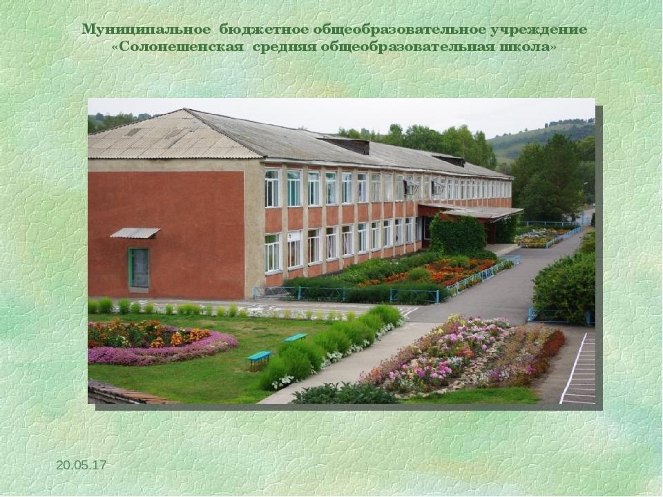 * Муниципальное бюджетное общеобразовательное учреждение «Солонешенская средн...