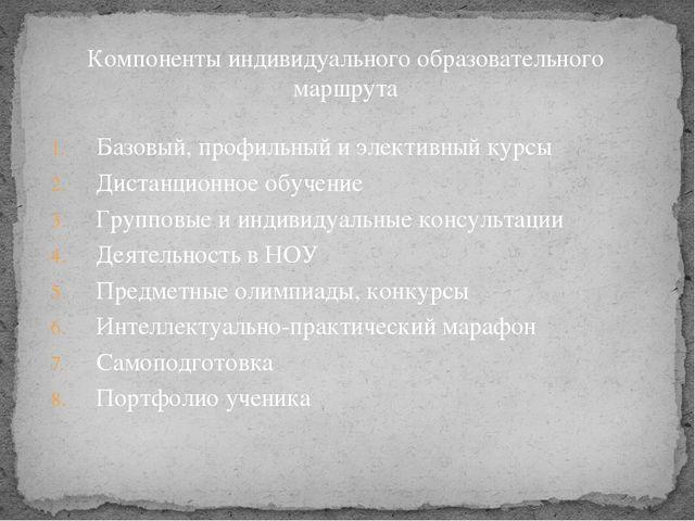 Компоненты индивидуального образовательного маршрута Базовый, профильный и эл...