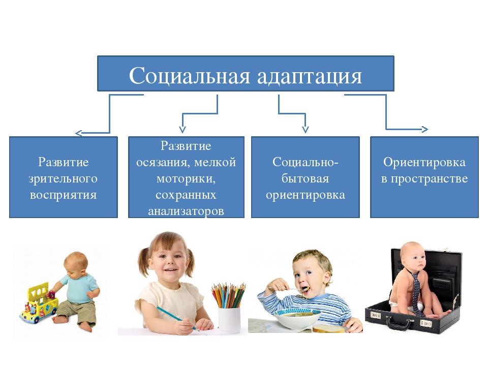 Социальная адаптация Развитие зрительного восприятия Развитие осязания, мелко...
