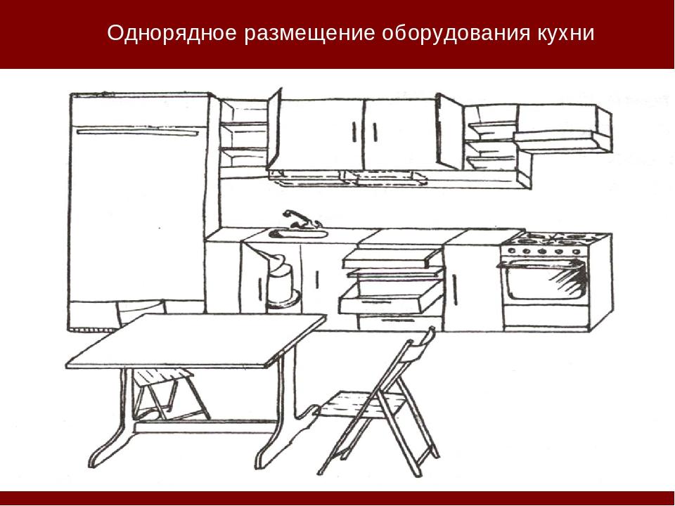 Однорядное размещение оборудования кухни