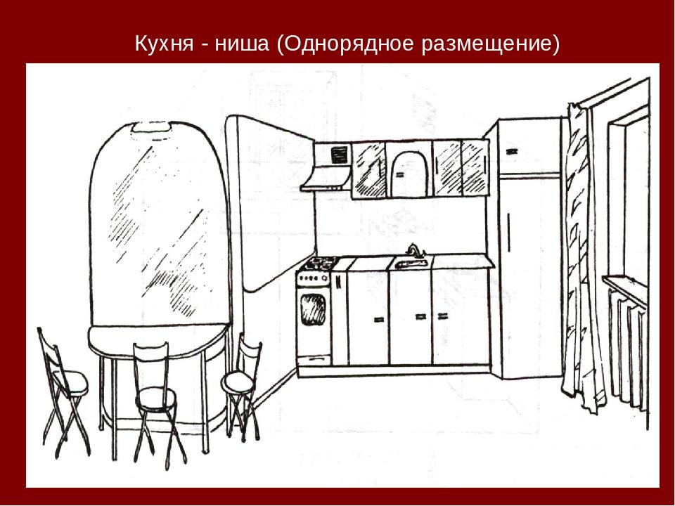 Кухня - ниша (Однорядное размещение)