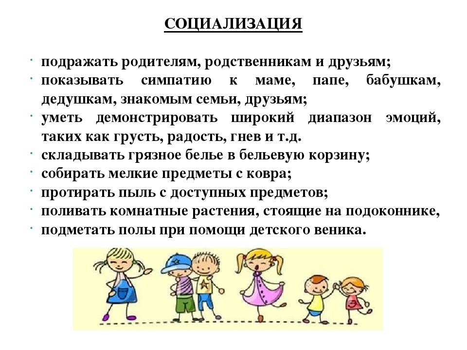СОЦИАЛИЗАЦИЯ подражать родителям, родственникам и друзьям; показывать симпати...