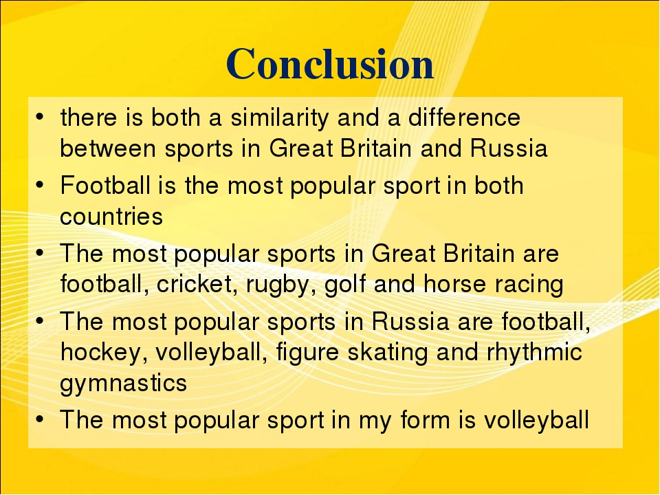 Conclusion there is both a similarity and a difference between sports in Grea...