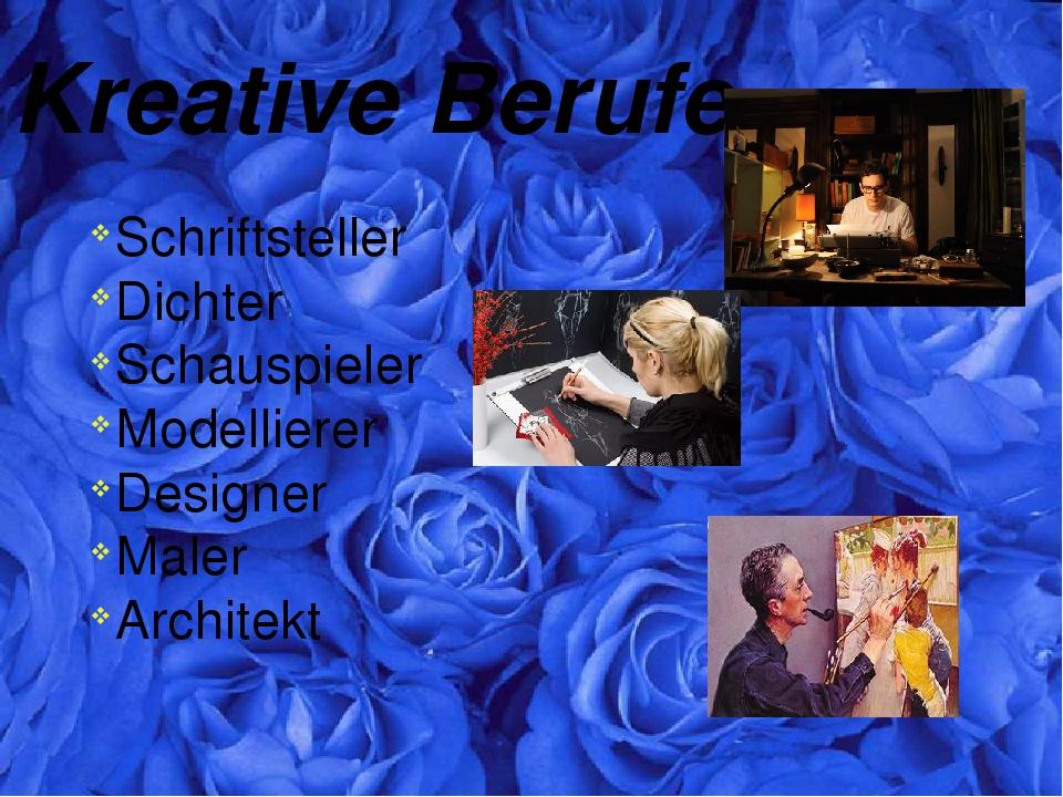 Kreative Berufe Schriftsteller Dichter Schauspieler Modellierer Designer Male...