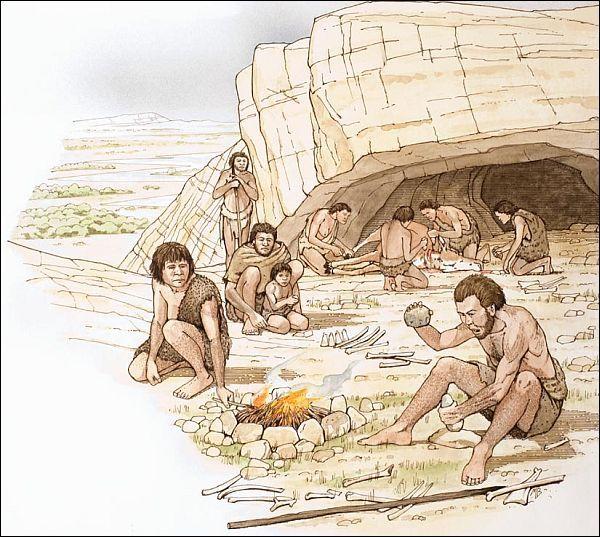 картинки древние люди в пещере у костра
