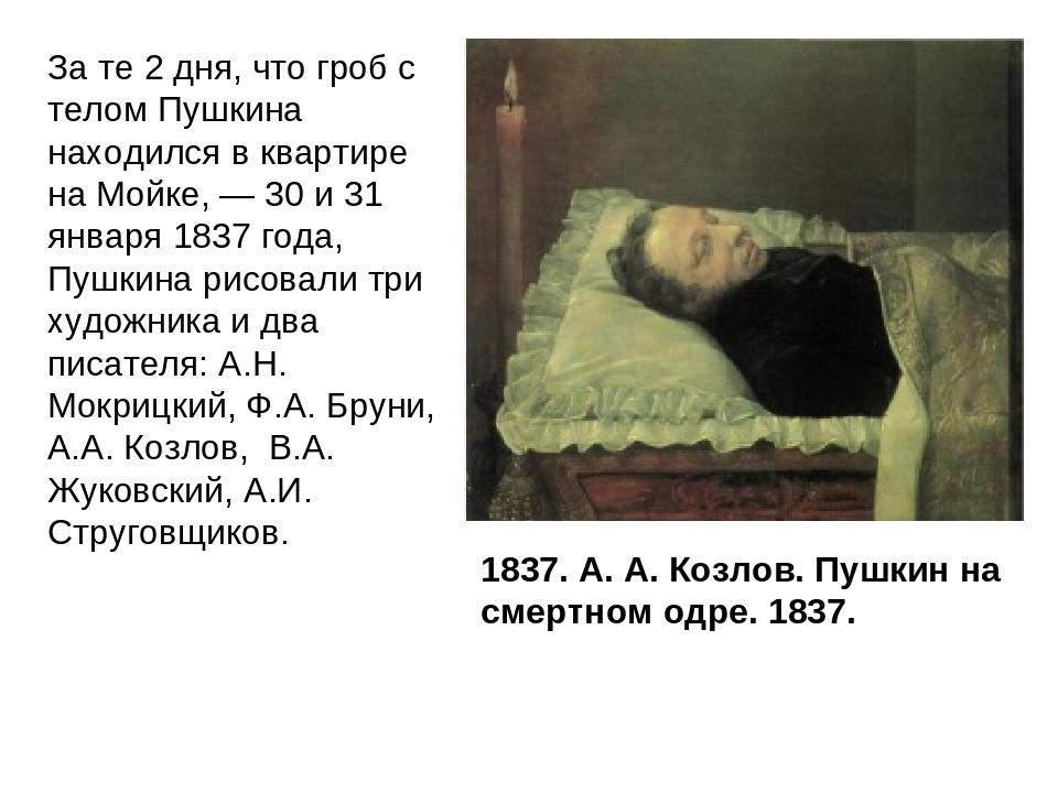1837. А. А. Козлов. Пушкин на смертном одре. 1837. За те 2 дня, что гроб с те...