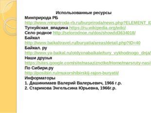 Использованные ресурсы Минприрода РБ http://www.minpriroda-rb.ru/burpriroda/n