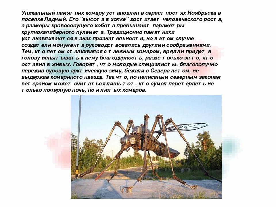 Уникальный памятник комару установлен в окрестностях Ноябрьска в поселке Лад...