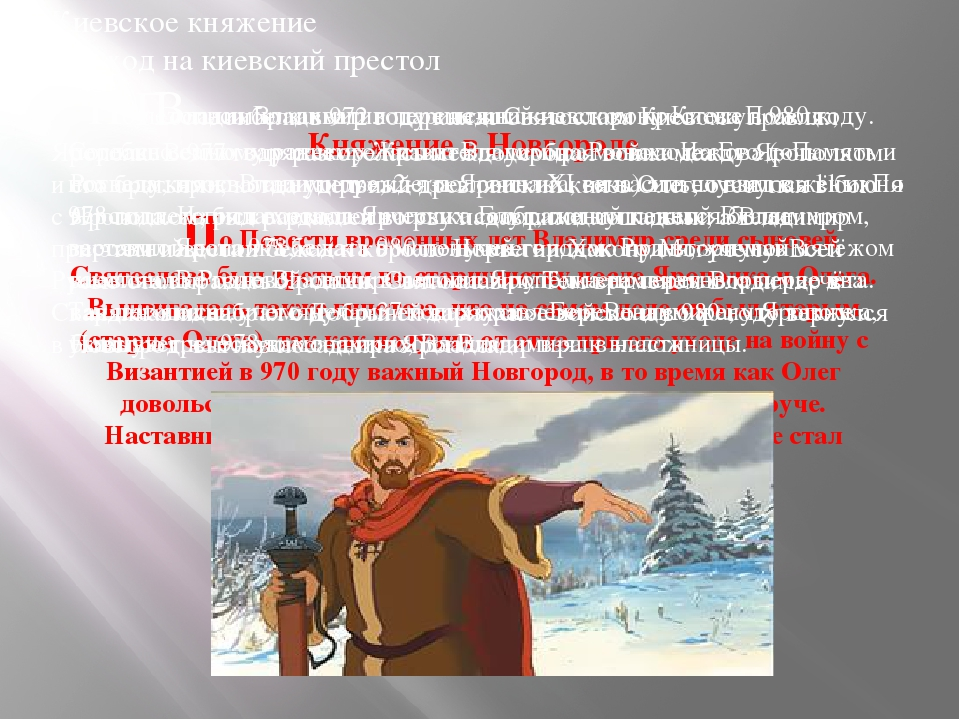 Княжение в Новгороде По Повести временных лет Владимир среди сыновей Святосла...
