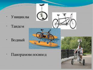 Унициклы Тандем Водный Панорамовелосипед