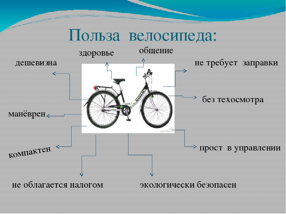 Польза велосипеда: дешевизна здоровье общение не требует заправки без техосмо...
