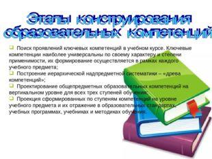 Поиск проявлений ключевых компетенций в учебном курсе. Ключевые компетенции