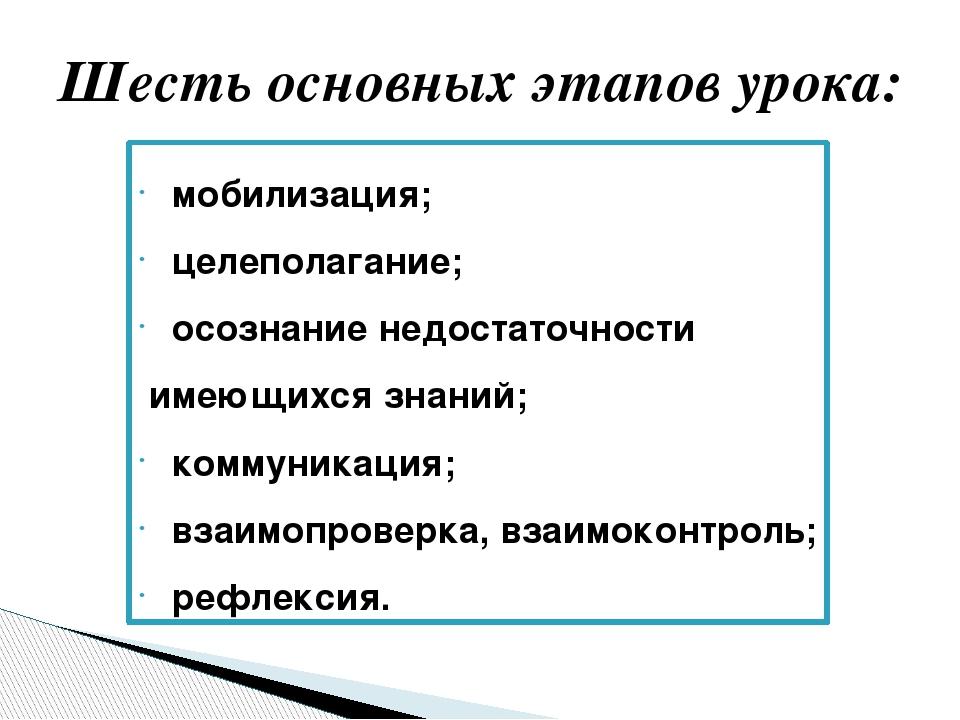 Шесть основных этапов урока: мобилизация; целеполагание; осознание недостаточ...