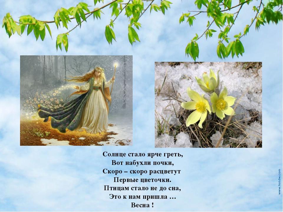 Солнце стало ярче греть, Вот набухли почки, Скоро – скоро расцветут Первые цв...