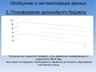 Обобщение и систематизация данных 3. Планирование дальнейшего бюджета Большин